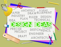 Design Ideas Meaning Development Designer And Thoughts - stock illustration