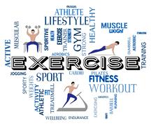 Exercise Fitness Showing Physical Activity And Exercising - stock illustration