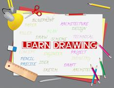 Learn Drawing Representing Education Creative And Educate Stock Illustration