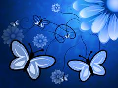 Butterflies On Flowers Meaning Bouquet Blooming And Flora - stock illustration