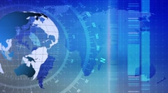 Motion Loopable Background 079, Blue BG with world map globe - stock footage