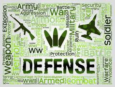 Defense Words Representing Resistance Defend And Deterrent Stock Illustration