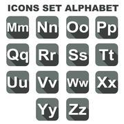 Icons set alphabet on the grey background. Vector illustration - stock illustration