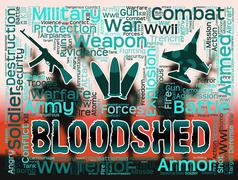Bloodshed Words Representing Confrontation Clash And Conflicts - stock illustration
