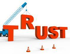 Build Trust Indicates Believe In And Belief 3d Rendering Stock Illustration