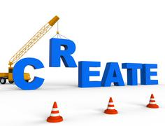 Create Crane Shows Construction Make And Build - stock illustration