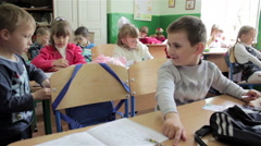 First graders at their desks Stock Footage