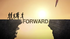 Pencil write 'FORWARD', connecting the cliff. Businessman crossing the cliff. Stock Footage