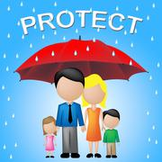 Protect Family Indicating Take Care And Relative Stock Illustration
