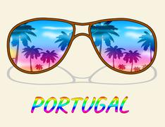 Portugal Holiday Representing Go On Leave And Time Off - stock illustration