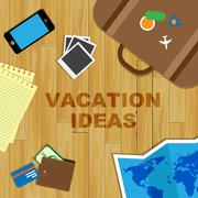 Vacation Ideas Indicating Reflecting Creative And Plans Stock Illustration