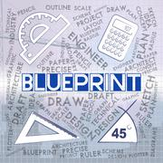 Blueprint Drawing Representing Designer Design And Creative Stock Illustration