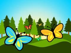 Butterfly In Summer Showing Butterflies Hot And Summertime Stock Illustration