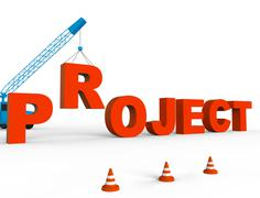 Build Project Means Projects Tasks And Builds 3d Rendering Stock Illustration