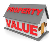 Property Value Shows Current Prices And Cost 3d Rendering - stock illustration
