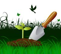 Gardening Trowel Meaning Outdoor Scoop And Agriculture - stock illustration