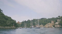 Sailing away from Portofino Italy - 25FPS PAL Stock Footage