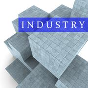 Industry Blocks Indicates Factory Industrial And Industries 3d Rendering Piirros
