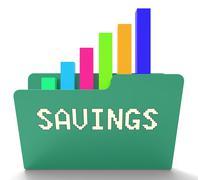 Savings File Represents Organization Files And Monetary 3d Rendering Stock Illustration