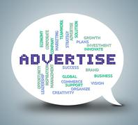 Advertise Bubble Meaning Promoting Message And Adverts Stock Illustration