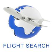Flight Search Shows Gathering Data And Air 3d Rendering Stock Illustration