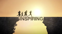 Pencil write 'INSPIRING', connecting the cliff. Businessman crossing the cliff. Stock Footage