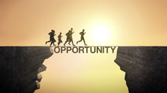 Pencil write 'Opportunity', connecting the cliff. man crossing the cliff. Stock Footage