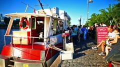 Frankfurt am Main Turkish Fish Döner Burger floating boat vendor river Main Stock Footage