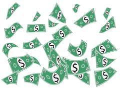 Falling Dollars, Money Cash Shapes Stock Illustration
