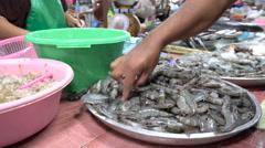 Choosing shrimps at seafood market Stock Footage