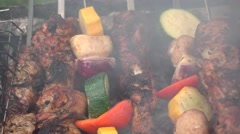 Barbecue grilling outside Stock Footage