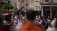 Anonymous crowds in European City Stock Footage