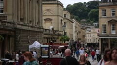 Anonymous crowds in England: in the City of Bath Stock Footage
