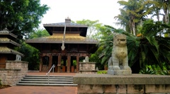 A wooden Nepalese pagoda in South Bank Parklands, Brisbane, Australia Stock Footage