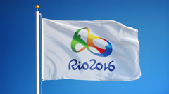 Rio 2016 Olympic flag in slow motion seamlessly looped with alpha Stock Footage