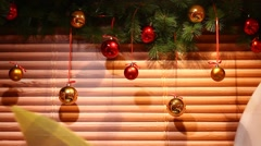 Christmas decoration balls weave on air flow, hang against wall, printed bamboo Stock Footage