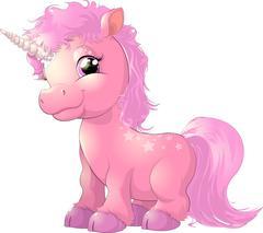 beautiful pink unicorn - stock illustration