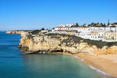 Carvoeiro and Beach, Algarve, Portugal, Europe Stock Photos