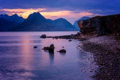 Sunset at Elgol, Isle of Skye, Inner Hebrides, Scotland, United Kingdom, Europe Stock Photos