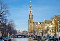 Westerkerk church and Prinsengracht canal, Amsterdam, North Holland, Stock Photos
