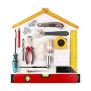 DIY - home renovation and improvement tools on white Stock Photos