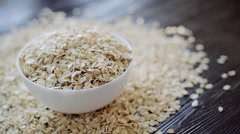 Food. Oatmeal on the table close up - stock footage