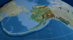 Alaska - United States, region extruded. Topography Stock Footage