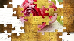 Love letter puzzle Stock Footage