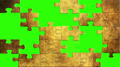 Grunge puzzles on green screen Stock Footage