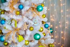 White decorative xmas tree with colourful balls, christmas concept Stock Photos