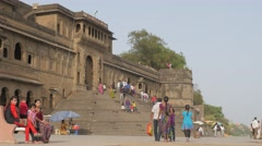 Tourists walking towards Fort Ahilya,Maheshwar,India Stock Footage