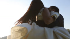 Wedding Day. Groom holds the bride and smilling Stock Footage
