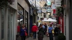 Crowds in the narrow streets of England Stock Footage