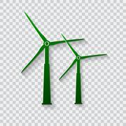 Wind generator icon. Wind turbines. Stock Illustration